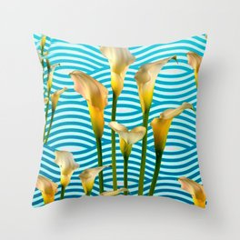 Calla Lilies  Blue Rippling Water Graphic Art Throw Pillow