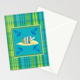 Nautical Beach Sand Pail Little Boy Plaid  Stationery Cards