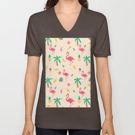 Summer pink watercolor tropical flamingo floral Unisex V-Neck