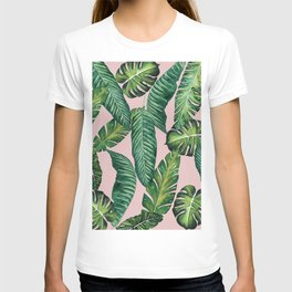 Jungle Leaves, Banana, Monstera II Pink #society6 T-shirt
