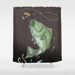 Largemouth Bass Jumping Out Of Water At Night // Spinner lure // Splashing Water // Fish On! Shower Curtain