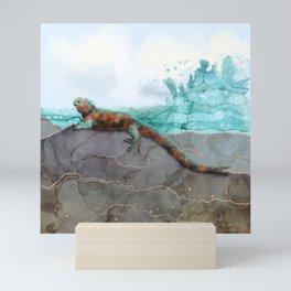 Marine Iguana on the Seashore - Galapagos Endangered Animal Mini Art Print