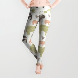 Brown Pink and Green Elephant Silhouette Seamless Leggings