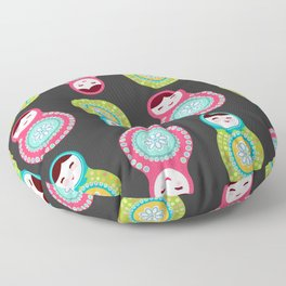 dolls matryoshka on black background, pink and blue colors Floor Pillow