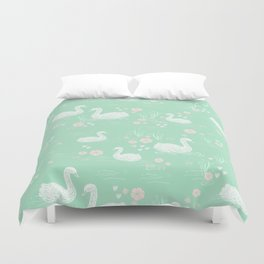 Swans painting cute girly trend cell phone case with swans pattern florals hand painted mint Duvet Cover
