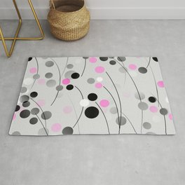 Cherry Blossom Abstract - Pink, Gray, Black, White Rug