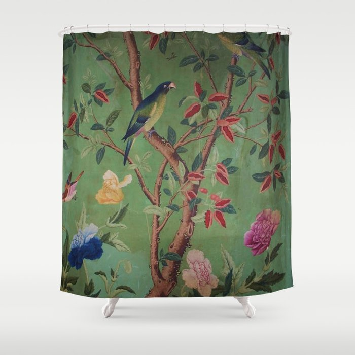 Green Dream Chinoiserie Shower Curtain