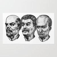 putin Area & Throw Rugs featuring Lenin Stalin Putin by Pavlo Tereshin