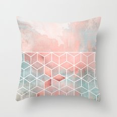 Rose Clouds And Cubes Throw Pillow