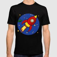 Space Rocket MEDIUM Black Mens Fitted Tee