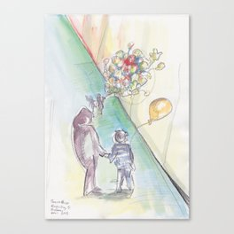 'Balloons' Watercolor Illustration Painting Canvas Print