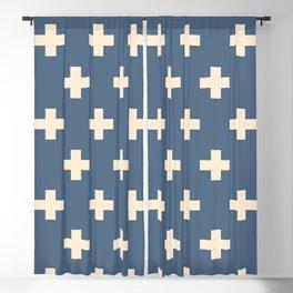 Swiss Cross Blue Blackout Curtain
