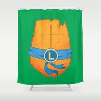 leonardo dicaprio Shower Curtains featuring Leonardo Turtle by Salina Ayala