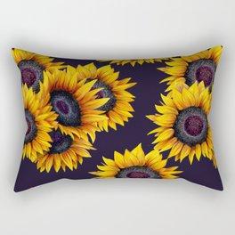 Sunflowers yellow navy blue elegant colorful pattern Rectangular Pillow