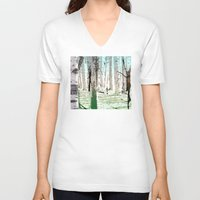 birch V-neck T-shirts featuring Birch Forest by Phil Perkins