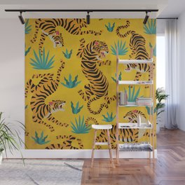 Wild Tigers on Sunshine Yellow - Kitschy Jungle Nature Pattern Wall Mural