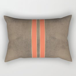 Vintage Hipster Retro Design - Brown Leather with Gold and Orange Stripes Rectangular Pillow