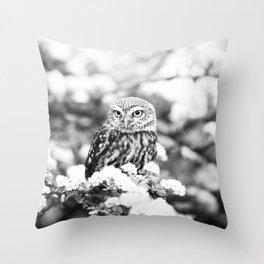 Owl in Flowering Tree Throw Pillow