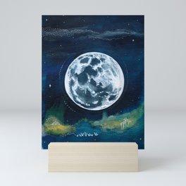Full Moon Mixed Media Painting Mini Art Print