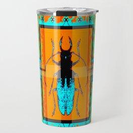 DOUBLE EXPOSURE TURQUOISE BEETLE ORANGE ART Travel Mug