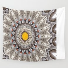 Lovely Healing Mandalas in Brilliant Colors: Black, Ecru, Gray, Silver, Orange, and Yellow Wall Tapestry