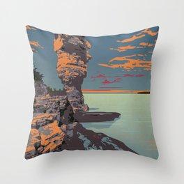Fathom Five National Park Poster (Flowerpot Island) Throw Pillow
