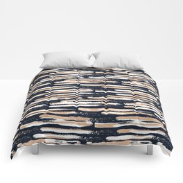 Colorful Stripes, Abstract Art, Navy, Blue and Blush Peach Comforters