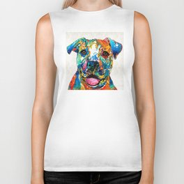 Colorful Dog Pit Bull Art - Happy - By Sharon Cummings Biker Tank