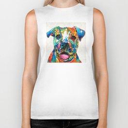 Colorful Dog Pit Bull Art - Happy - By Sharon Cummings Biker Tank