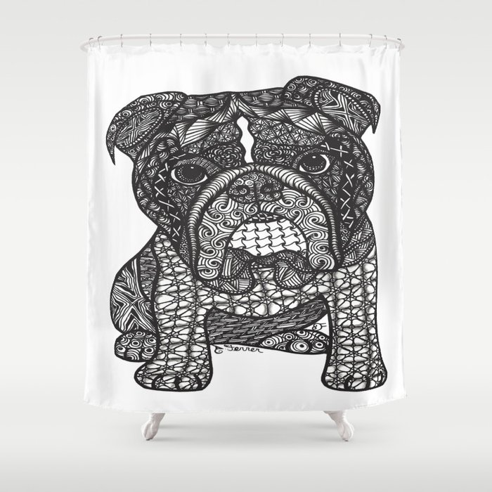 Inspired English Bulldog Shower Curtain
