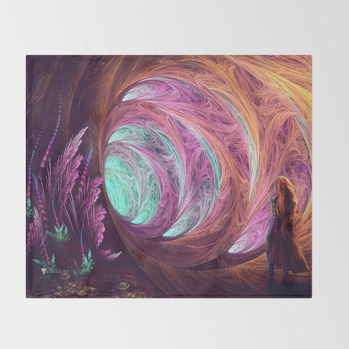 Towards The Light - Alice in Wonderland - White Rabbit - Fractal Throw Blanket