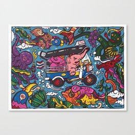 Elephant riding tuktuk Canvas Print