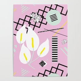 80's Calla Lily Floral Poster