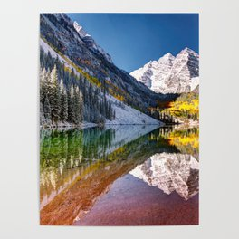 OLena Art Maroon Bells And Maroon Lake Near Aspen Colordo Poster