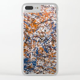 Orange,Blue, Flat black Action painting Clear iPhone Case