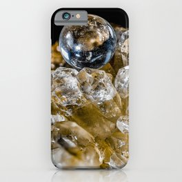 Crystal Ball Resting on quartz Crystals iPhone Case