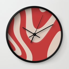 Beige & Rouge Red Abstract Fluid Pattern Design  Wall Clock