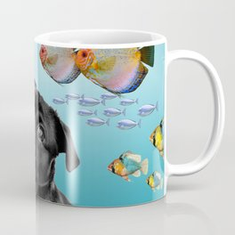 Tropic Fishes with Pug Dog Coffee Mug