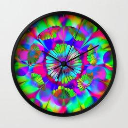Aqua Floral Wall Clock