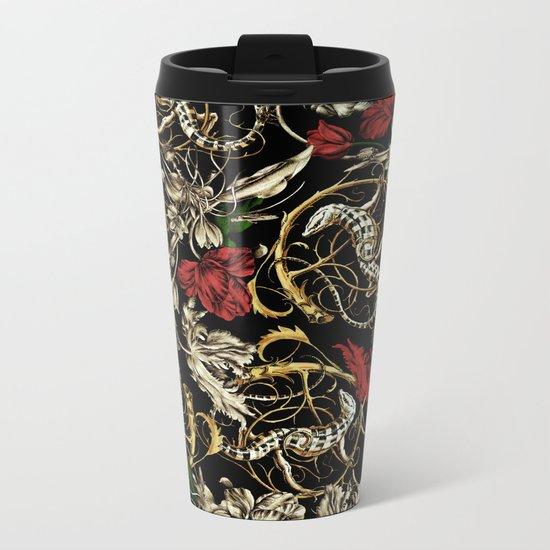 Floral and  Lizard Pattern Metal Travel Mug
