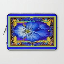 """Blue Ribbon Beauty"" Pansy Art Abstract Design Laptop Sleeve"