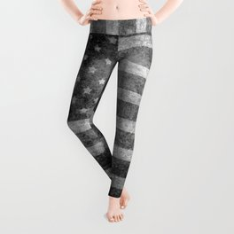 Star Spangled Banner in Grayscale Leggings
