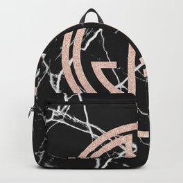 great Gatsby rose gold black marble Backpack