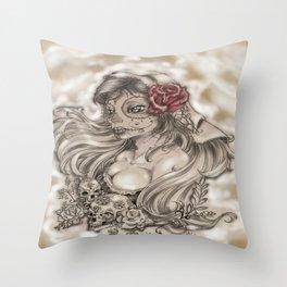 Dama de los muertos Throw Pillow