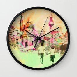 Berlin mixed media urban artwork Wall Clock