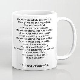 she was beautiful quotes by F. Scott Fitzgerald Coffee Mug
