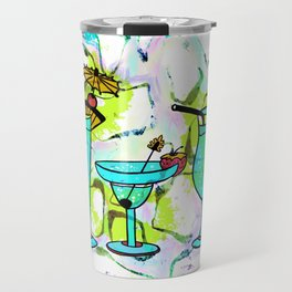 Summer Pool Party Cocktails , Watercolor Painting in Aqua Tequila Sunrise Colors Travel Mug