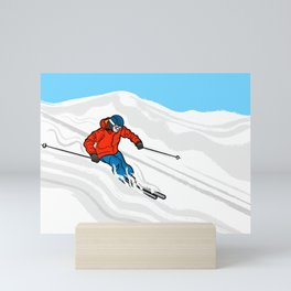 Skier Illustration Mini Art Print