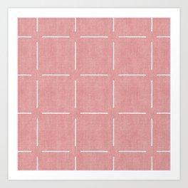 Block Print Simple Squares in Coral Art Print