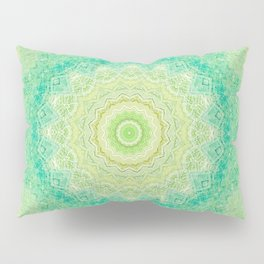 Bright Yellow Aqua Mandala Design Pillow Sham